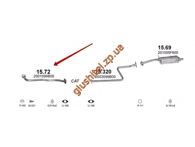 Приемная труба Ниссан Микра (NISSAN MICRA) 1.0 HATCHBACK 1/1993 - 8/1999 (15.72) Польша Polmostrow алюминизированный