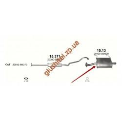 Глушитель Ниссан Альмера (Nissan Almera) 1.5/1.8i -16V 01-06 (15.13) Polmostrow алюминизированный