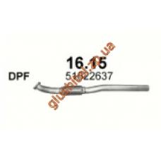 Трубка приемная Альфа Ромео 159 (Alfa Romeo 159) 2.0 JTDM 05 - 11 (16.15) Polmostrow алюминизированный
