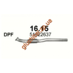 Труба приемная Альфа Ромео 159 (Alfa Romeo 159) 2.0 JTDM 05 - 11 (16.15) Polmostrow алюминизированный