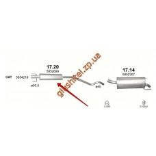 Резонатор Опель Астра Н (Opel Astra H) 05-  (17.20) Polmostrow алюминизированный