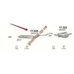 Резонатор Опель Зафира (Opel Zafira) A, B; 1.9 / 2.0 CDTi 03 - (17.634) Polmostrow алюминизированный