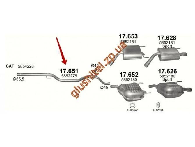 Труба промежуточная Опель Вектра (Opel Vectra) C 2.0 /2003 - 0/0 (17.651) Polmostrow алюминизированный