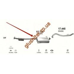 Резонатор Опель Фронтера А (Opel Frontera A) 2.2i-16V 94-98 LWB (17.140) Polmostrow алюминизированный