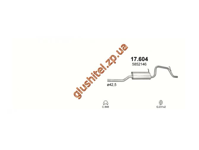 Глушитель Опель Агила А (Opel Agila А) 1.2i -16V 00-08 (17.604) Polmostrow алюминизированный