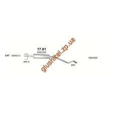 Резонатор Опель Астра (Opel Astra G/ Astra H) 1.4i 03-00 (17.61) Polmostrow алюминизированный