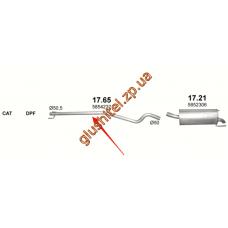 Труба промежуточная Опель Астра Ш (Opel Astra H) 1.7 CDTi Turbo Diesel 04- (17.65) Polmostrow алюминизированный
