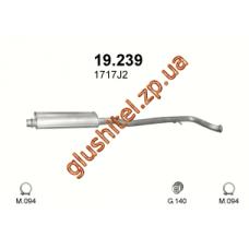 Резонатор Пежо 406 (Peugeot 406) 2.2 / 3.0 00 - 04 (19.239) Polmostrow алюминизированный