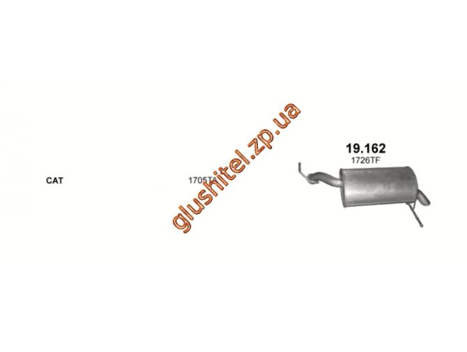 Глушитель Пежо 407 (Peugeot 407) 2.2i 04- (19.162) Polmostrow алюминизированный