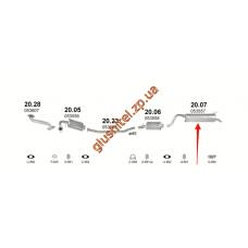 Глушитель Полонез Каро (Polonez Caro) 1.4/1.5/1.6/1.9D 91-98 (20.07) Polmostrow алюминизированный