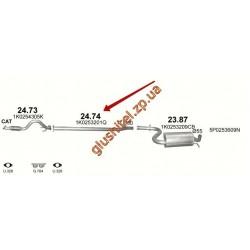 Труба промежуточная  Seat Altea ; Leon / Skoda Octavia / VW Golf ; Jetta (24.74) Polmostrow алюминизированный