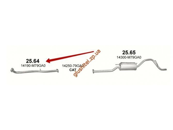 Труба приемная Сузуки Альто (Suzuki Alto) 1.1i-16V, 01 - (25.64) Polmostrow алюминизированный