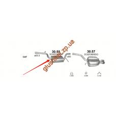 Резонатор Фольксваген Пассат (Volkswagen Passat) 1.8/2.0 FSi 05-12 (30.58) Polmostrow алюминизированный