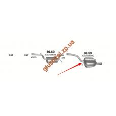 Глушитель Фольксваген Пассат (Volkswagen Passat) 1.6 05-08 (30.59) Polmostrow алюминизированный