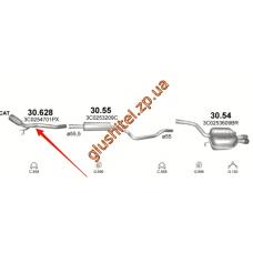 Труба приемная без DPF Фольксваген Пассат (VW Passat) / Ауди А3 (Audi A3) / Сеат Альтеа (Seat Altea , Toledo , Leon) 1.9D/2.0D 04- (30.628) Polmostrow алюминизированный