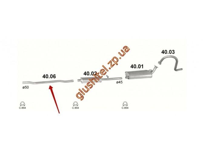Труба промежуточная ГАЗ 2401 2.5 (40.06) Польша Polmostrow алюминизированный