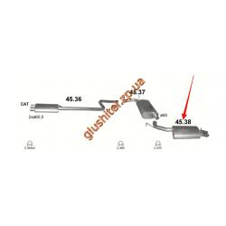 Глушитель Крайслер 300М (Chrysler 300М) 3.5 98-04 Польша (45.38) Polmostrow алюминизированный