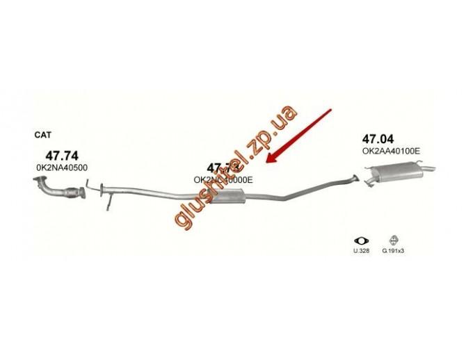 Резонатор Киа Каренс (Kia Carens) 1.8 /2000 - 7/2002 (47.73) Polmostrow алюминизированный