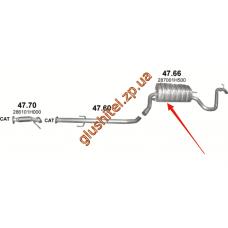 Глушитель Киа Сид (Kia Ceed) 1.6D/2.0D 06-09 (47.66) Polmostrow алюминизированный