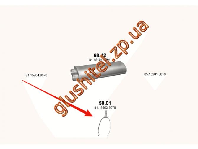 Хомут глушителя MAN M2000, M90, L2000 88- (50.01) (DIN49841) Polmostrow алюминизированный