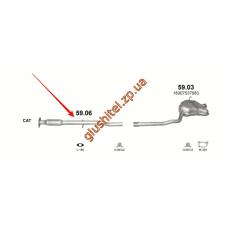 Резонатор Мини Купер (Mini Cooper) 1.6 01-08 (59.06) Polmostrow алюминизированный