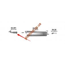 Приемная труба с гофрой Iveco Daily IV 04/06- 2.3D/3.0D 01- din 29298 (64.291) Polmostrow алюминизированный