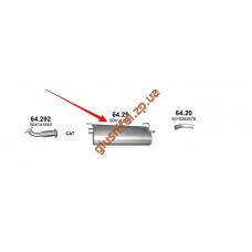 Глушитель Iveco Daily IV 04/06- 2.3 D/3.0 D (64.29) Polmostrow алюминизированный