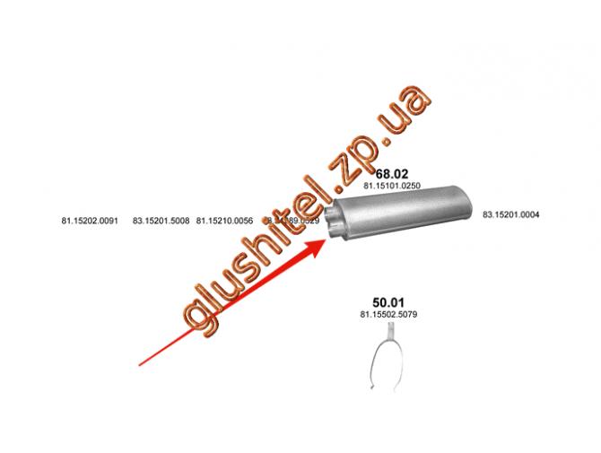 Глушитель MAN 17.272 05/87- din 49337 (68.02) Polmostrow алюминизированный