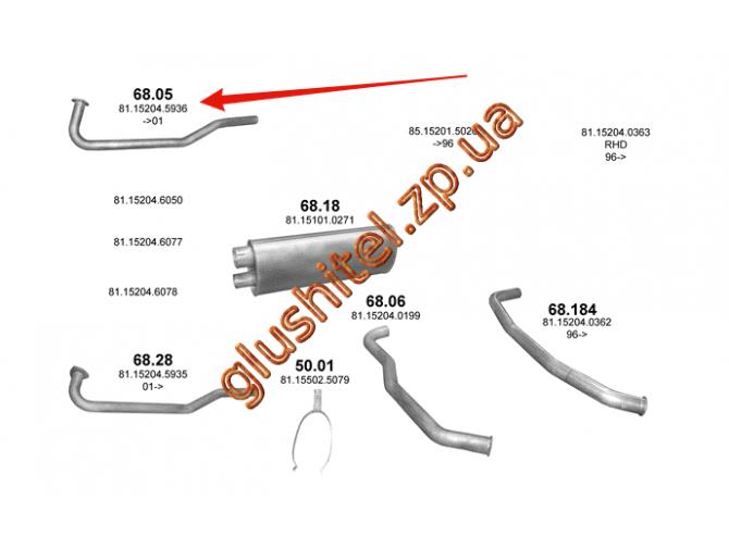 Труба приемная MAN L2000/M2000L din 47102 (68.05) Polmostrow алюминизированный