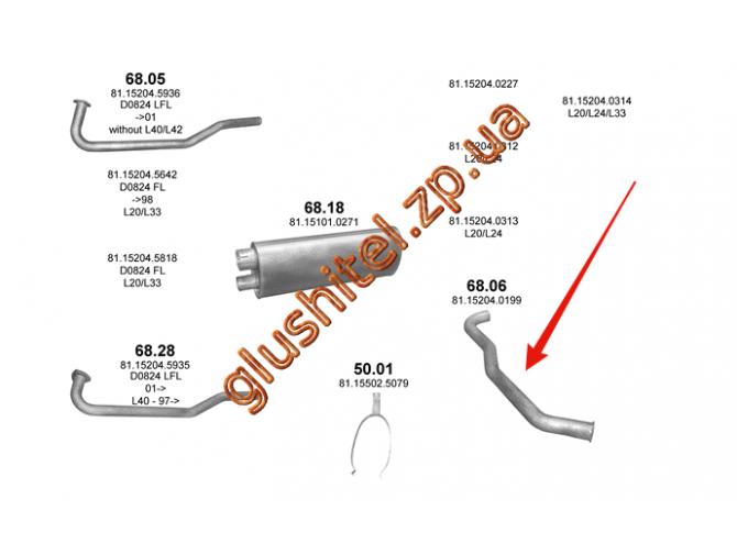 Труба выхлопная MAN L2000/M2000L din 47600 (68.06) Polmostrow алюминизированный