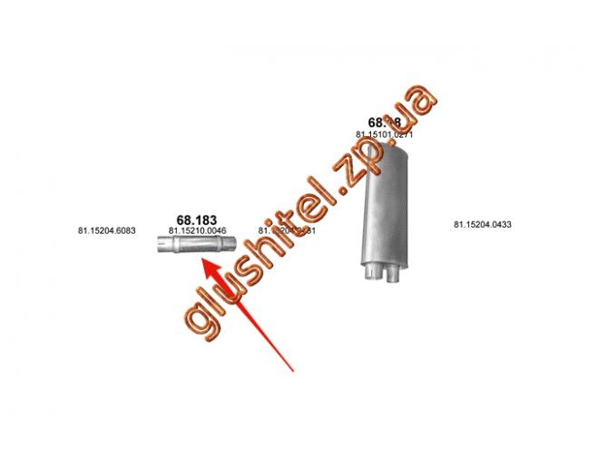 Гофра (соединитель) MAN L2000 94- (68.183) Polmostrow алюминизированный