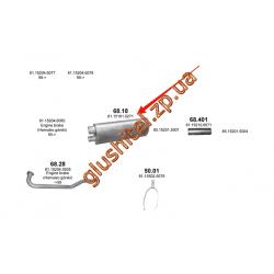 Глушитель MAN L2000/M2000L 93- din 47300 (68.18) Polmostrow алюминизированный