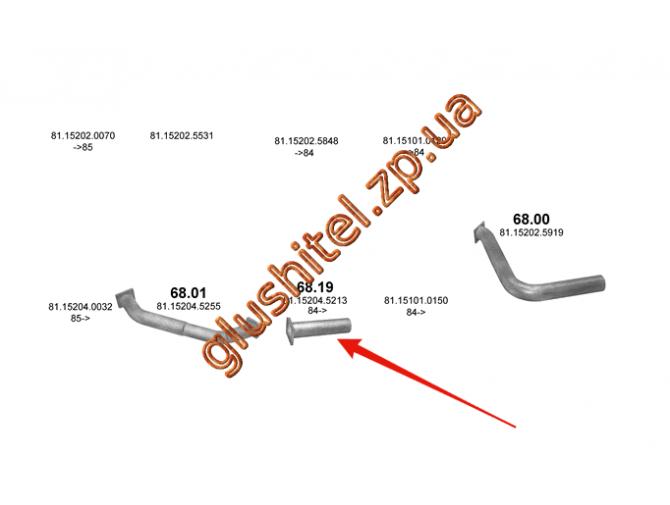 Труба соединительная MAN 506/509/516 80- din 49256 (68.19) Polmostrow алюминизированный