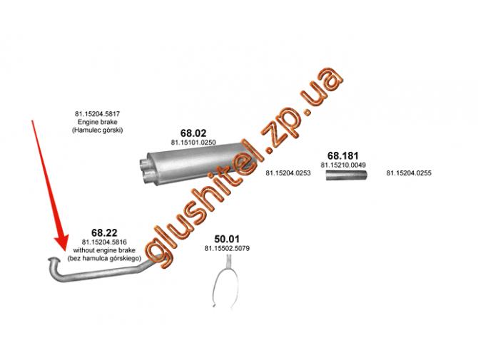 Труба приемная MAN L2000 (68.22) Polmostrow алюминизированный