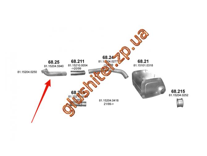 Труба приемная MAN F2000 din 49287 93- (68.25) Polmostrow алюминизированный