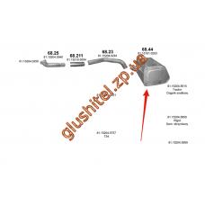 Глушитель MAN F2000 93- din 49374 (68.44) Polmostrow алюминизированный