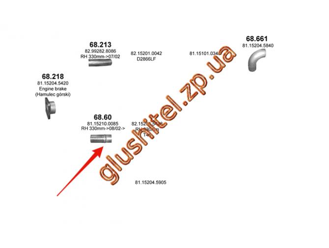 Гофра (соединитель) MAN F2000 din 48213 93- (68.60) Polmostrow алюминизированный