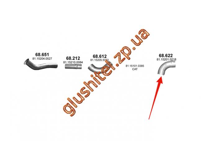 Труба выхлопная MAN TGA/TGS 00- (68.622) Polmostrow алюминизированный
