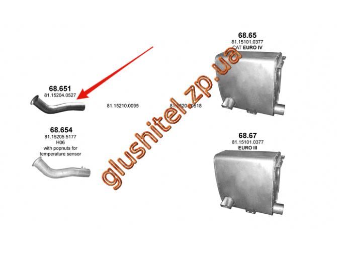 Труба приемная MAN TGA/TGS/TGX 00- (68.651) Polmostrow алюминизированный