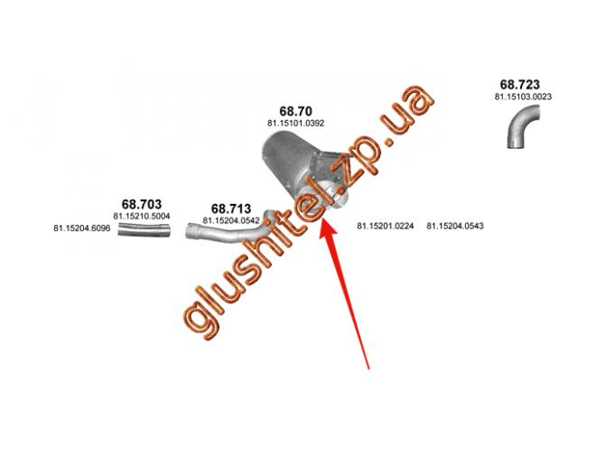 Глушитель MAN TGL/TGM din 49397 05- (68.70) Polmostrow алюминизированный