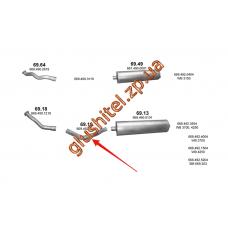 Труба промежуточная Mersedes 609D/709D/711D din 51129 86- (69.19) Polmostrow алюминизированный