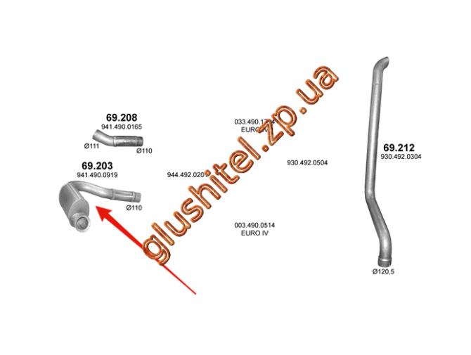 Глушитель Mersedes Axor din 54203 04- (69.203) Polmostrow алюминизированный