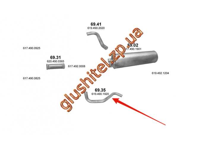 Труба промежуточная Mersedes 1222/1922/2222 din 51147 00- (69.35) Polmostrow алюминизированный