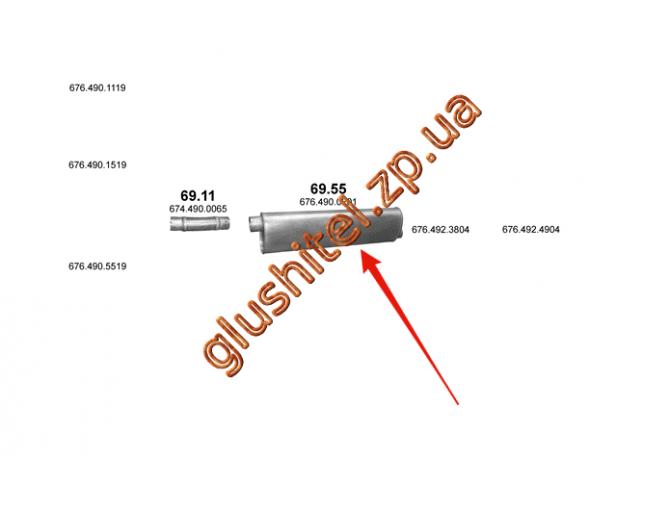 Глушитель Mersedes 817F/1117/1120 din 50374 00- (69.55) Polmostrow алюминизированный