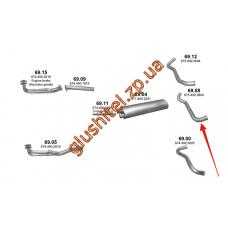 Труба выхлопная Mersedes 814/914/1114/1314/1514 00- (69.58) Polmostrow алюминизированный