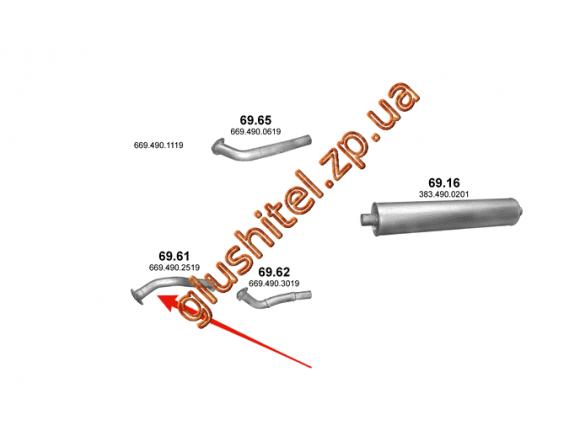 Труба приемная Mersedes 809/811/814 D/DK din 53258 86- (69.61) Polmostrow алюминизированный