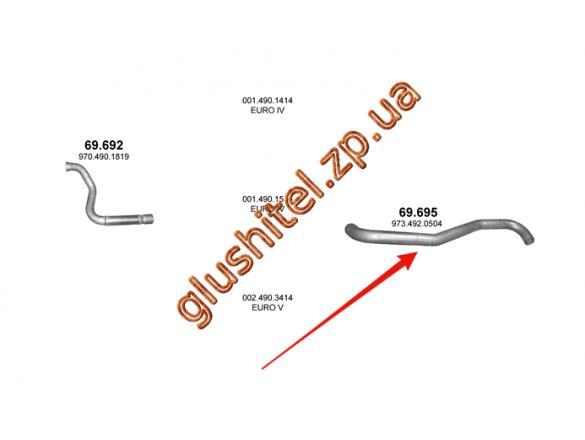 Труба выхлопная Mersedes Atego 04- (69.695) Polmostrow алюминизированный