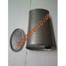 Глушитель универсальный плоский D.703/50 (Длинна 350мм, ширина 200мм, высота 100мм диаметр входа 50мм)
