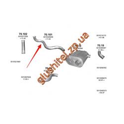 Труба приемная Renault Premium din 64258 96- (70.101) Polmostrow алюминизированный