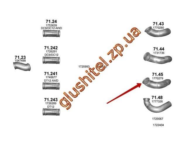 Труба промежуточная Scania P/R/T 04- (71.45) Polmostrow алюминизированный